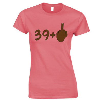 Rude 40th Birthday Womens T Shirt Black Middle Finger