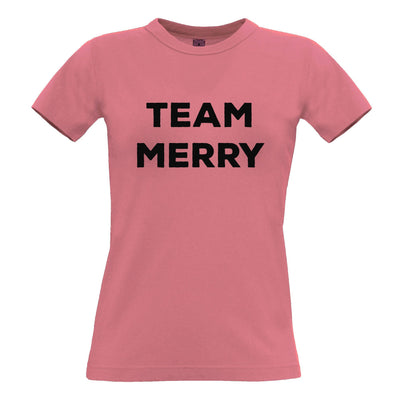 Novelty Xmas Womens TShirt Team Merry Christmas