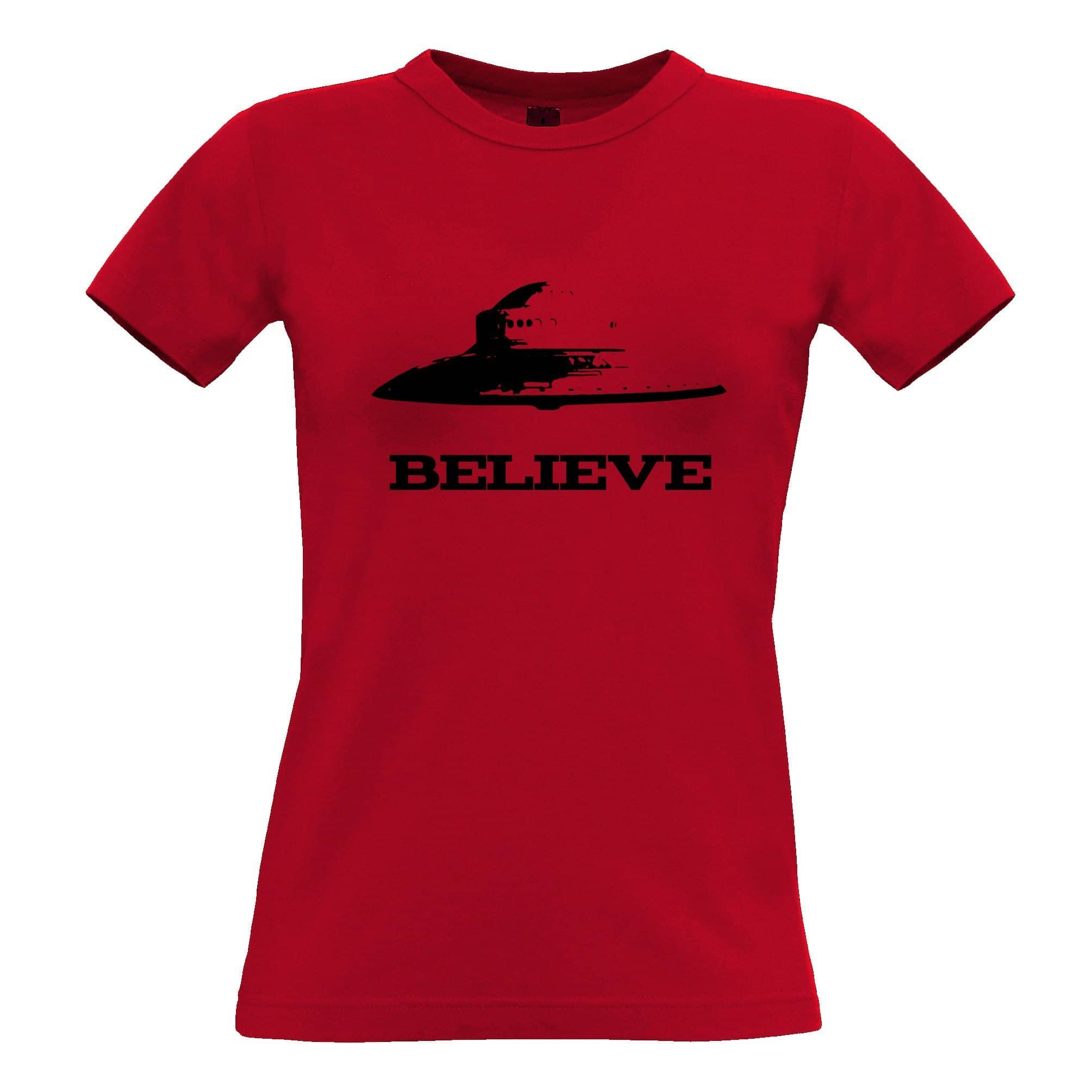 Alien Womens TShirt Believe in UFO Flying Saucers