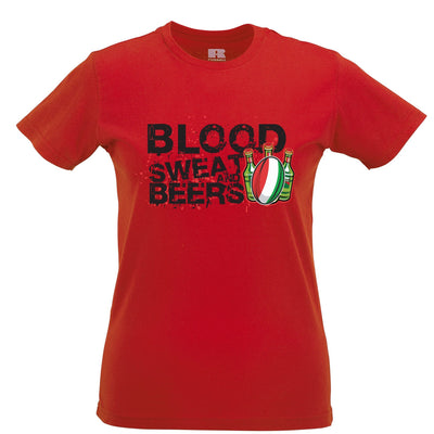 Italy Rugby Supporters Womens TShirt Blood, Sweat And Beers