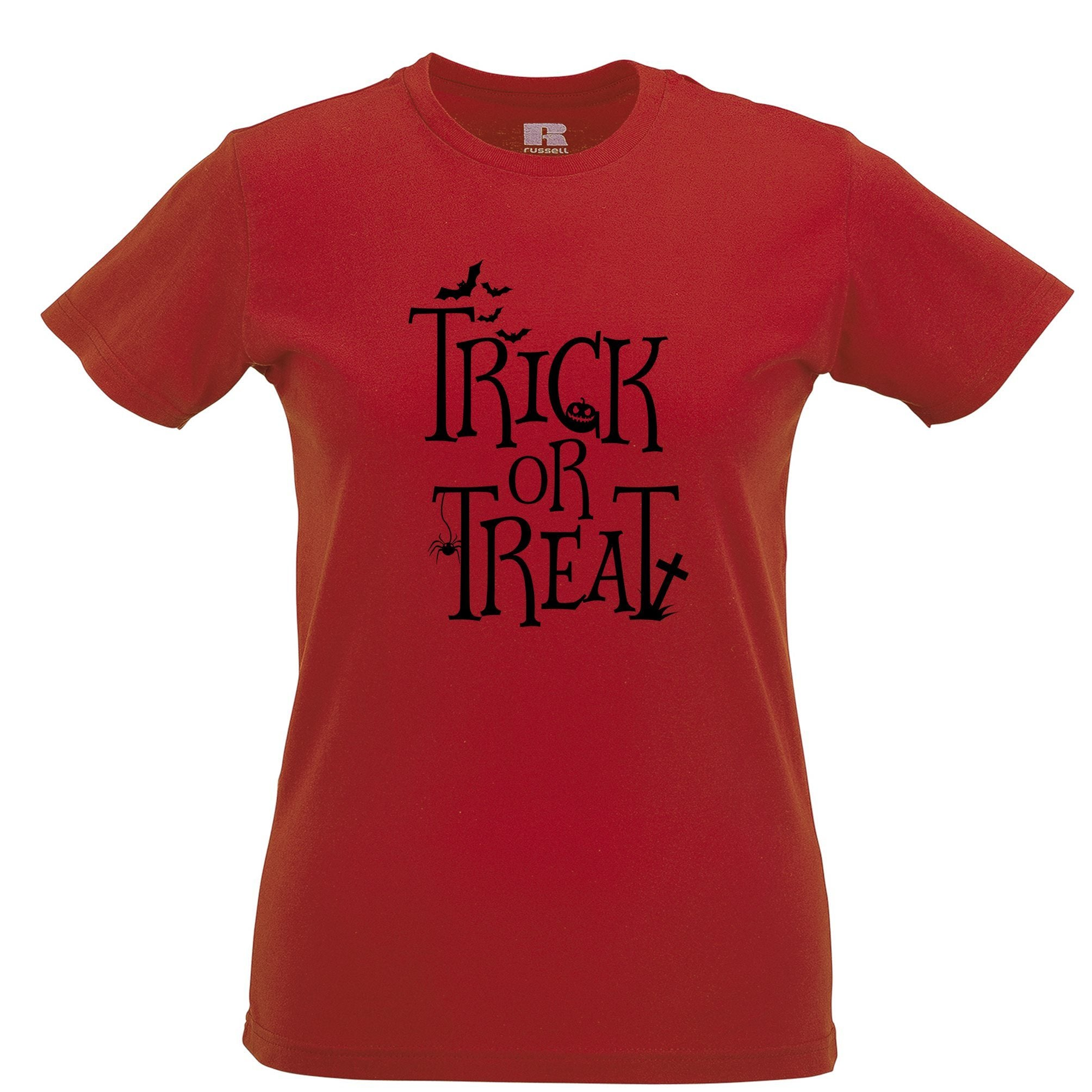 Halloween Womens T Shirt Stylised Trick Or Treat Slogan