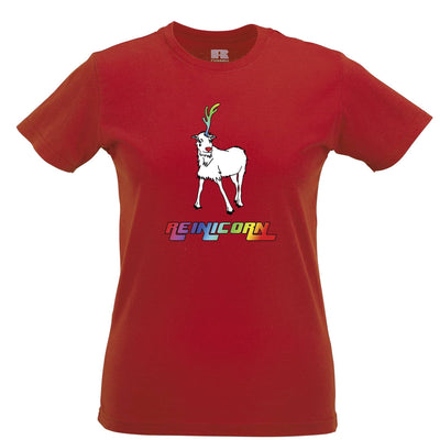 Christmas Womens TShirt Reinicorn Reindeer Unicorn