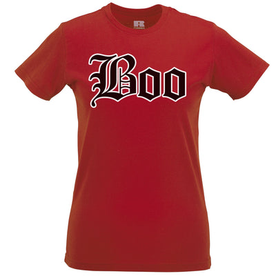 Halloween Womens T Shirt Stylised Boo Text
