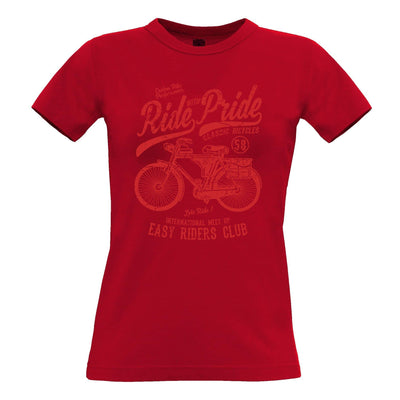Cycling Womens T Shirt Ride With Pride Retro Cyclist Bike