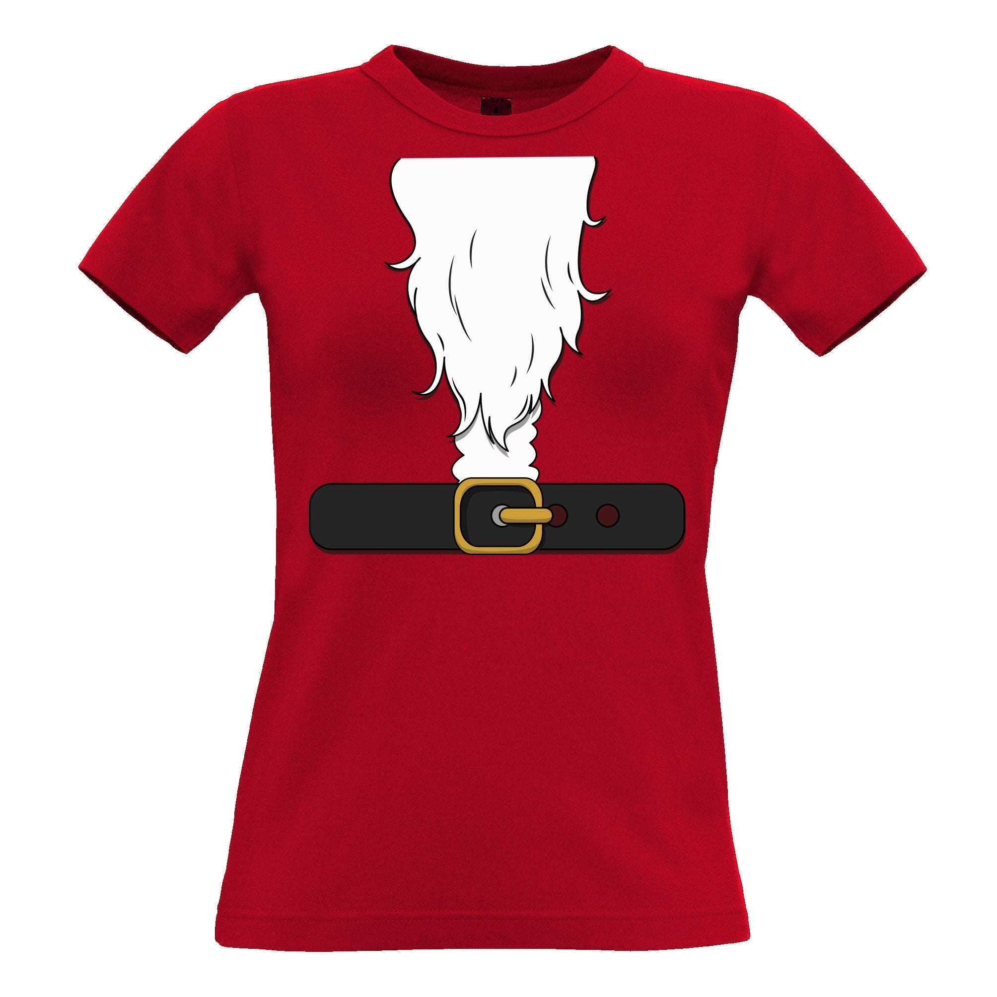 Novelty Xmas Womens TShirt Father Christmas Party Costume