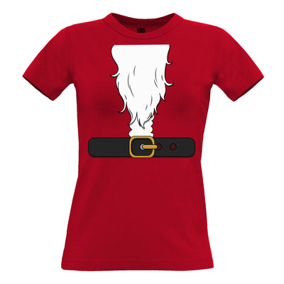 Novelty Xmas Womens T Shirt Father Christmas Party Costume