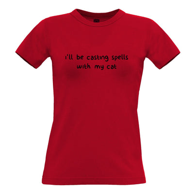 Halloween Womens T Shirt I'll Be Casting Spells With My Cat