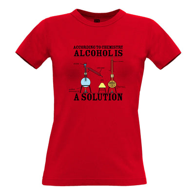 Pub Womens T Shirt According To Chemistry Alcohols a Solution Tee