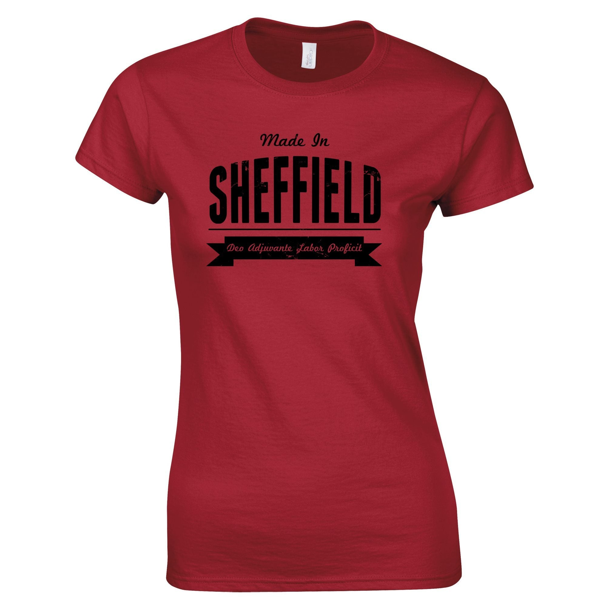 Hometown Pride Womens T Shirt Made in Sheffield Banner