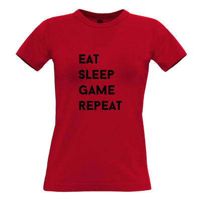 Nerd Womens T Shirt Eat, Sleep, Game, Repeat Slogan