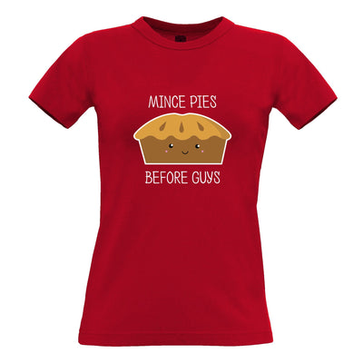 Joke Christmas Womens T Shirt Mince Pies Before Guys Novelty
