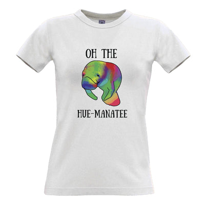 Novelty Pun Womens T Shirt Oh The Hue-Manatee Humanity