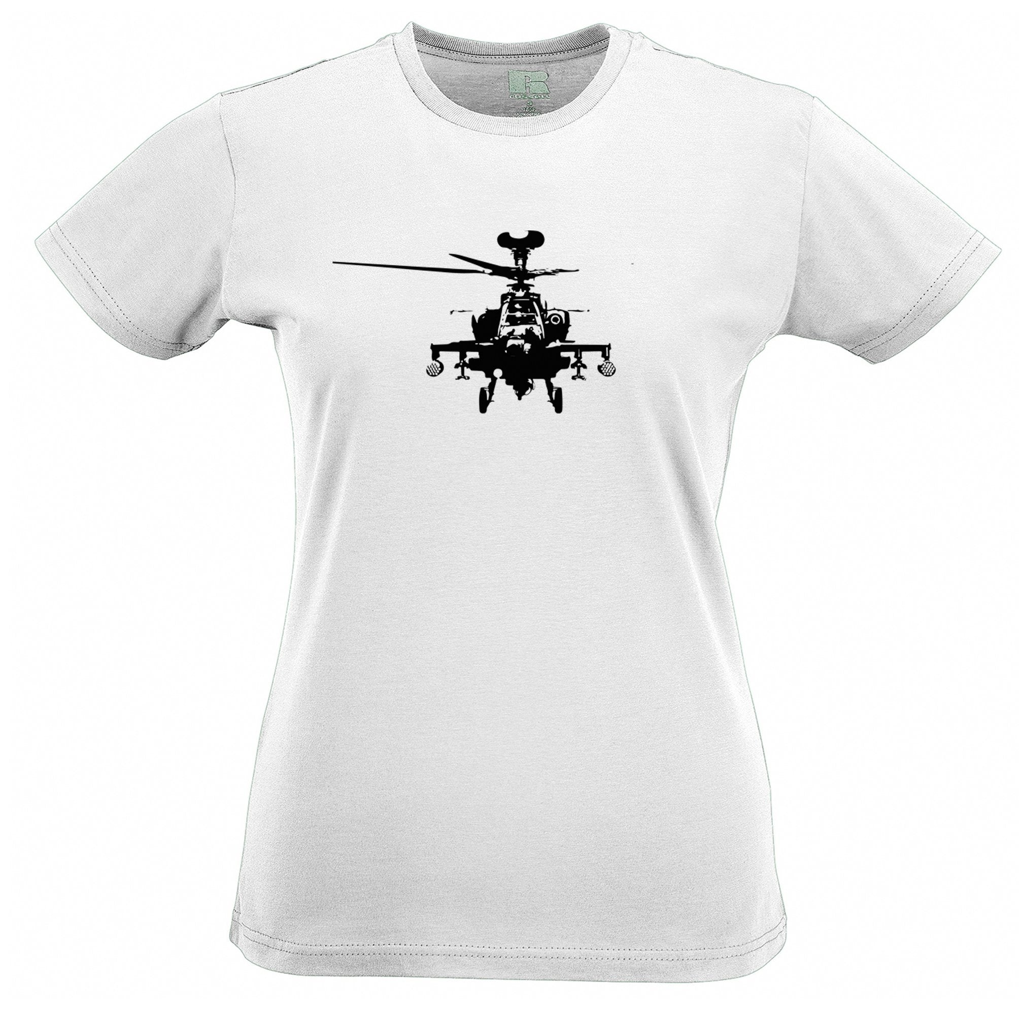 Military Womens T Shirt Apache Attack Helicopter AH64