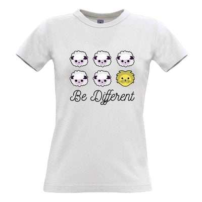 Novelty Womens T Shirt Be Different Cartoon Sheep Slogan