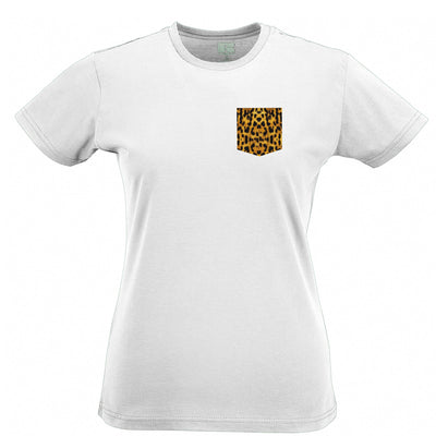 Hipster Womens T Shirt Leopard Print Fake Pocket