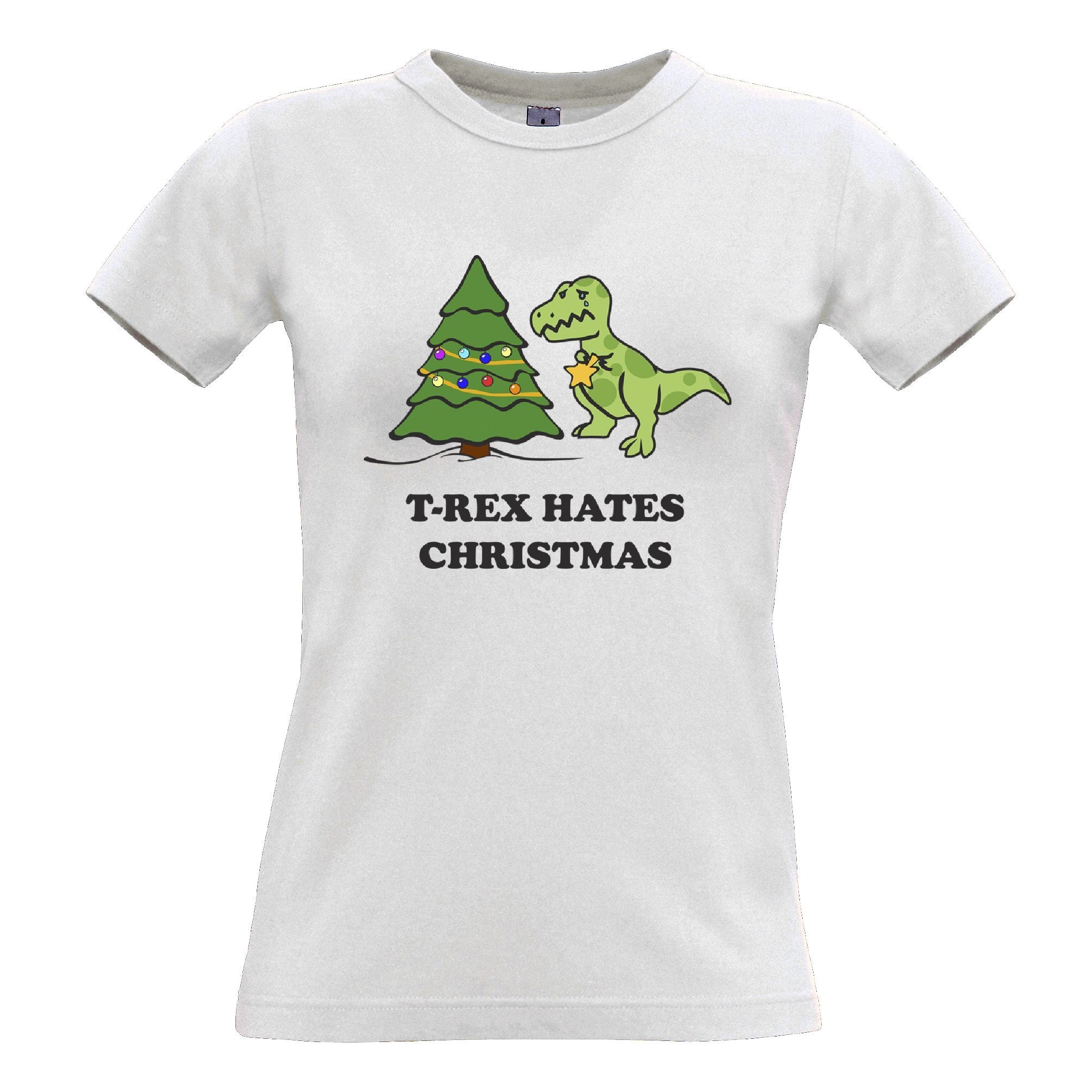 Novelty Xmas Womens T Shirt T-Rex Hates Christmas Joke