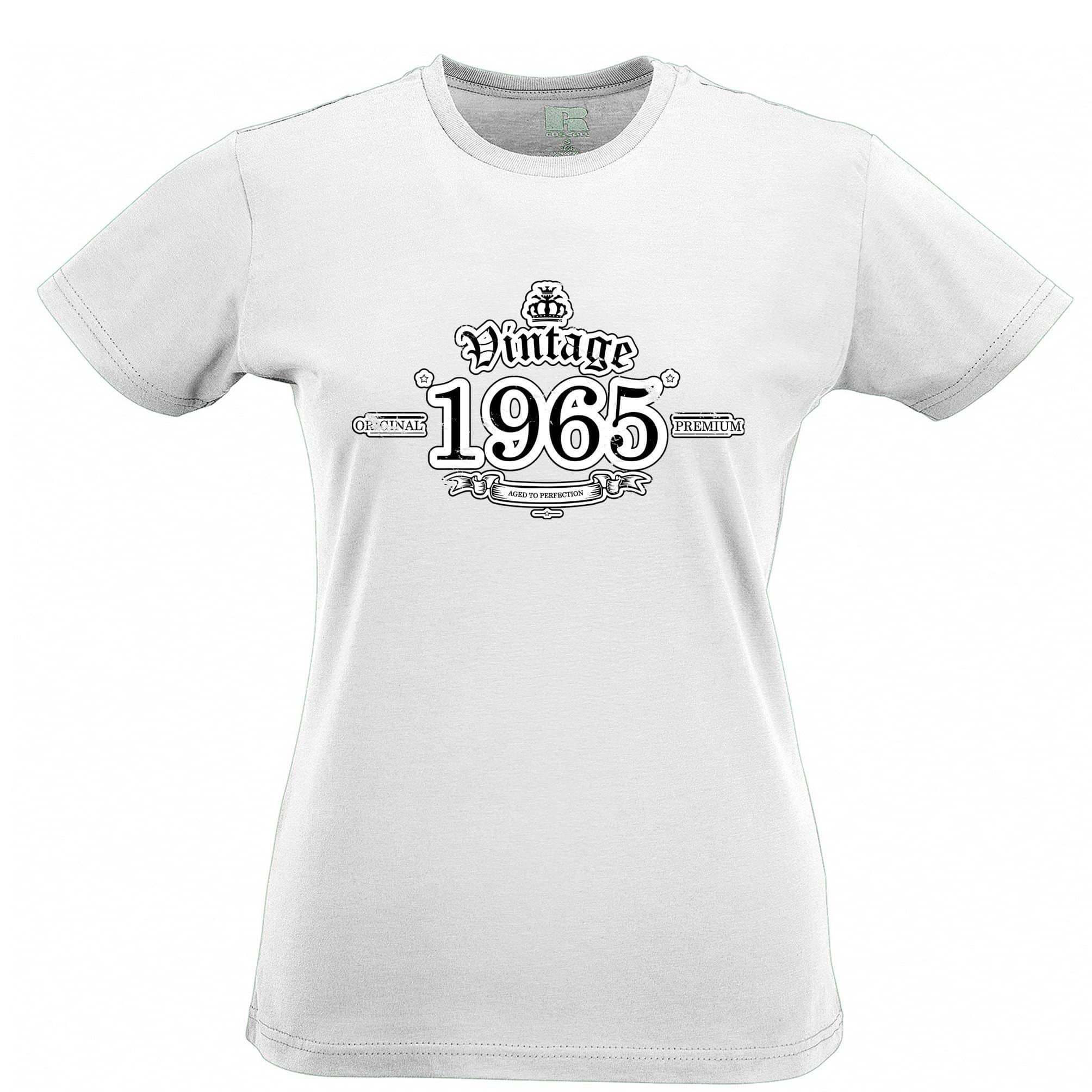 53rd Birthday Womens T Shirt Vintage 1965 Aged To Perfection