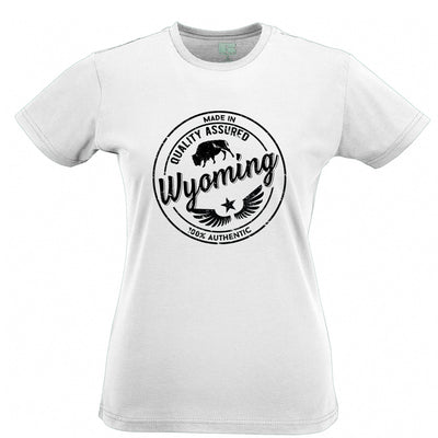 Hometown Pride Womens T Shirt Made in Wyoming Stamp