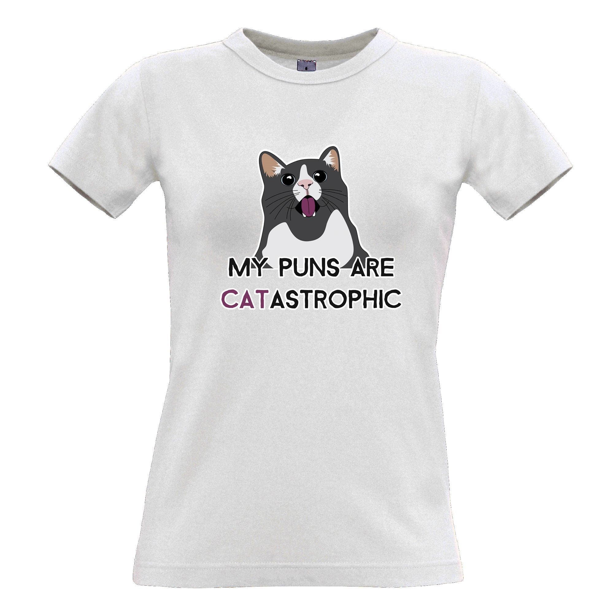 Novelty Cat Womens T Shirt My Puns Are Catastrophic Joke