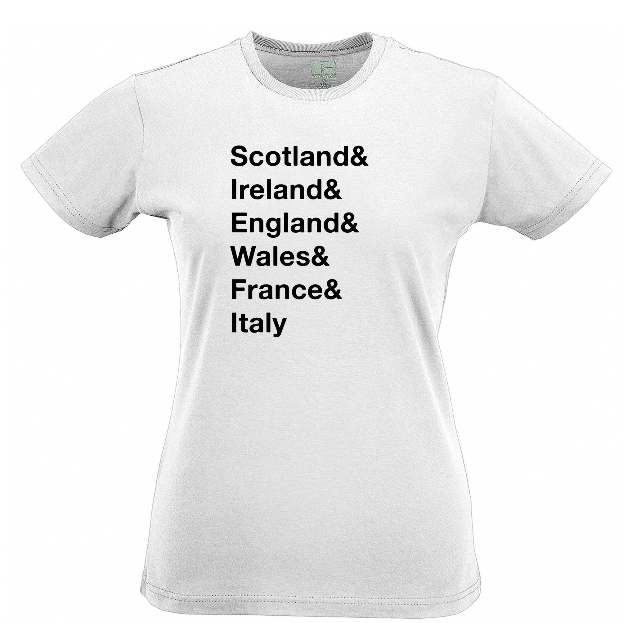The Six Nations Womens T Shirt Scotland, Ireland, England