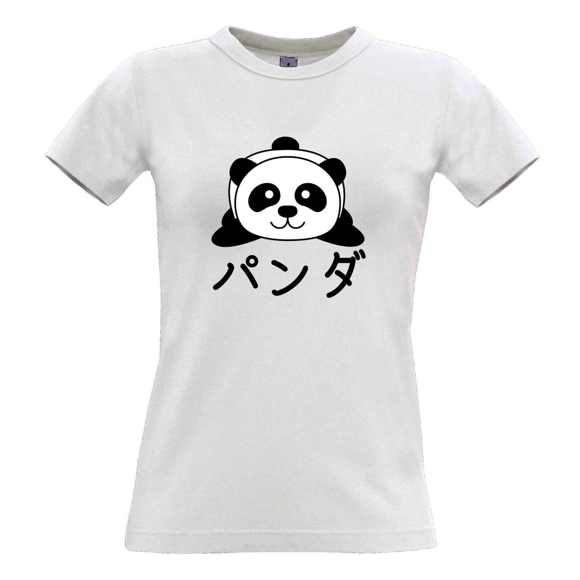 Cute Womens T Shirt Japanese Baby Panda With Text