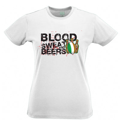 Ireland Rugby Supporter Womens T Shirt Blood, Sweat And Beers