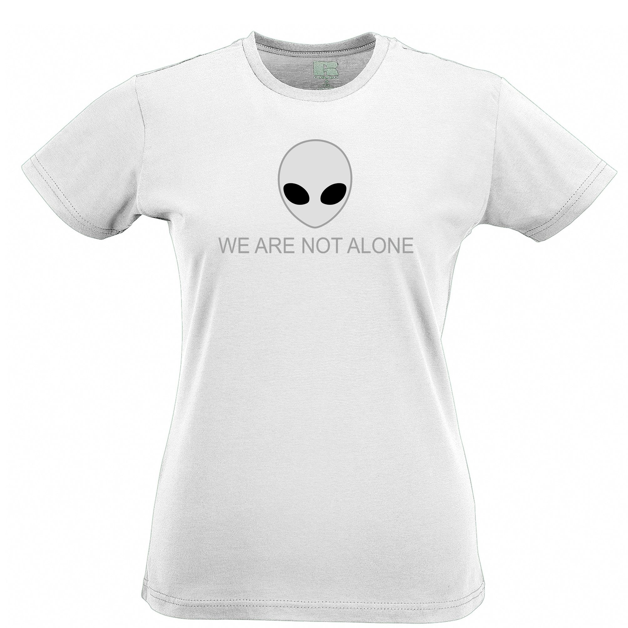 Nerdy Alien Head Womens T Shirt We Are Not Alone Slogan