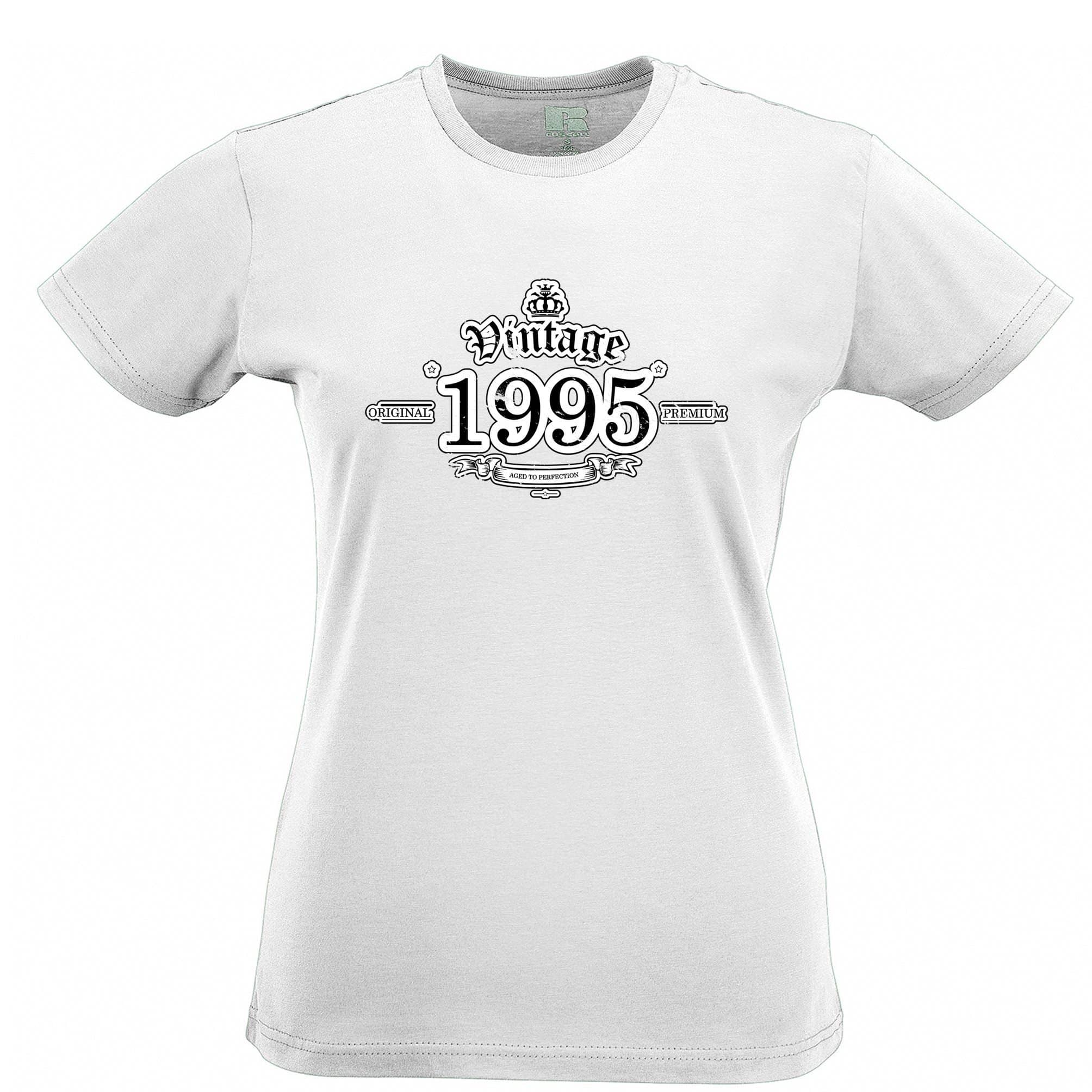 23rd Birthday Womens T Shirt Vintage 1995 Aged To Perfection