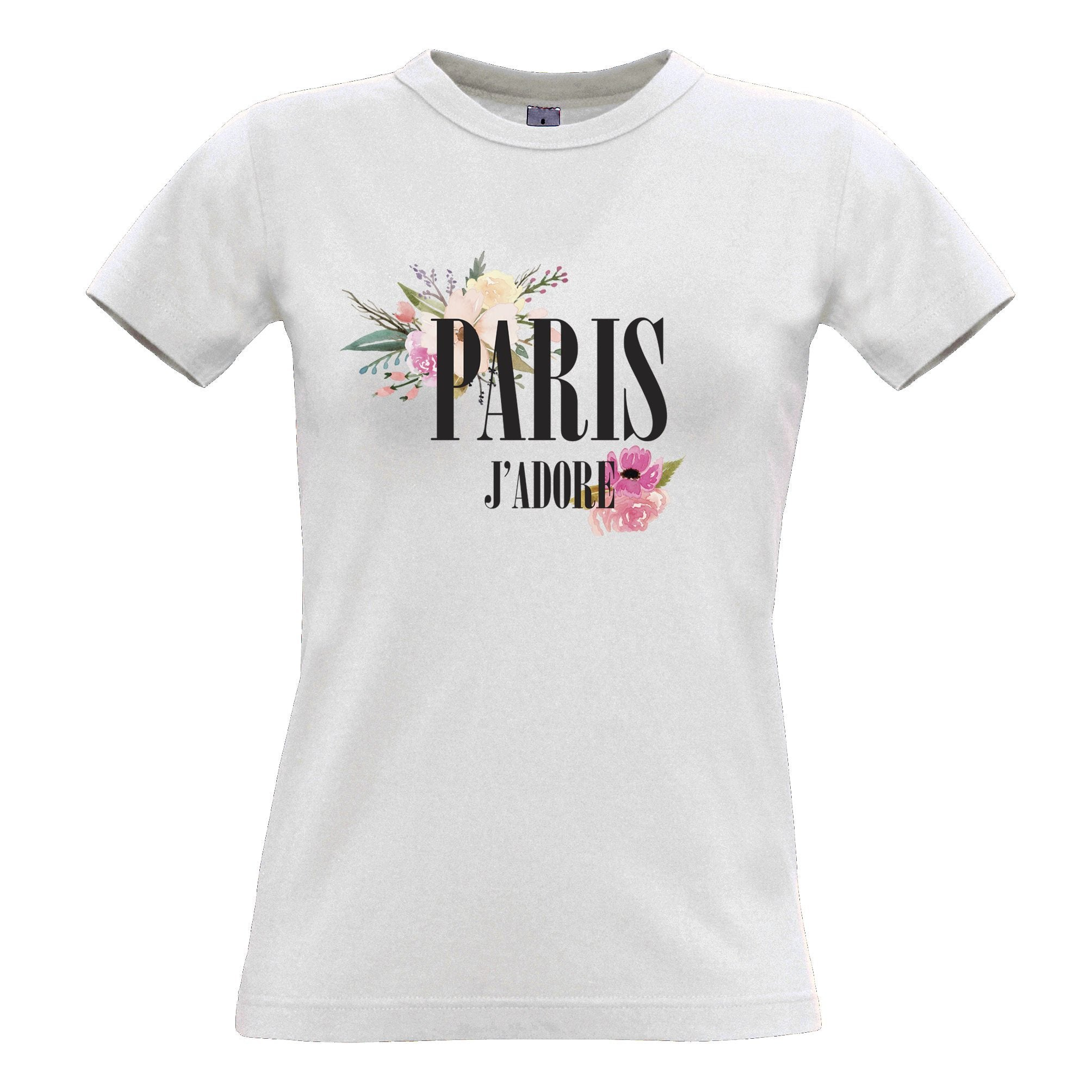 Watercolour Art Womens T Shirt J'adore Paris Flowers Logo