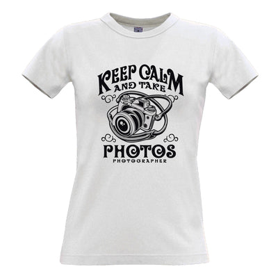 Retro Art Womens T Shirt Keep Calm And Take Photos Slogan