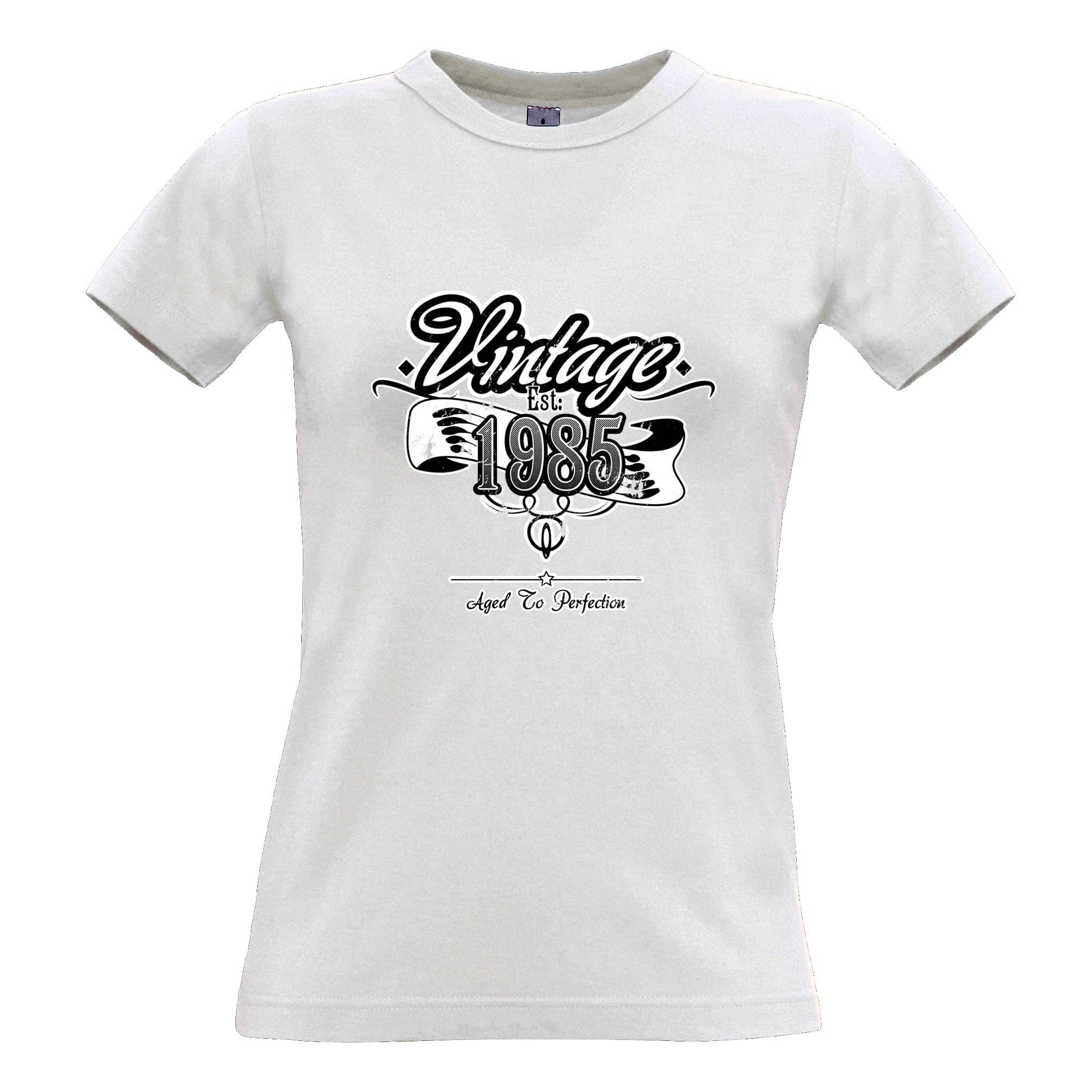 Birthday Womens T Shirt Vintage Est. 1985 Aged To Perfection