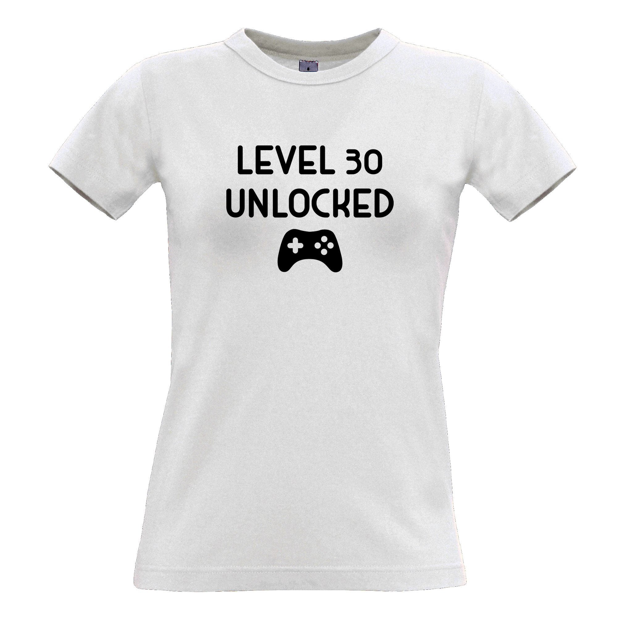 Gamers 30th Birthday Womens T Shirt Level 30 Unlocked Slogan