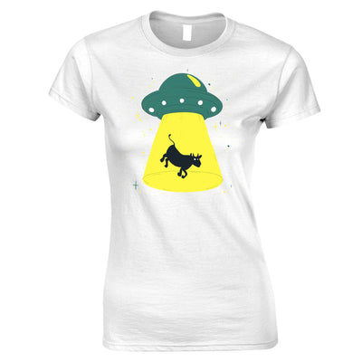 Alien Womens T Shirt Cow Being Abducted Tee