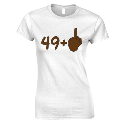 Rude 50th Birthday Womens TShirt Black Middle Finger