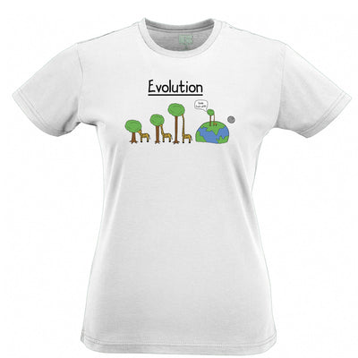 Novelty Womens T Shirt Evolution Of A Giraffe And Tree