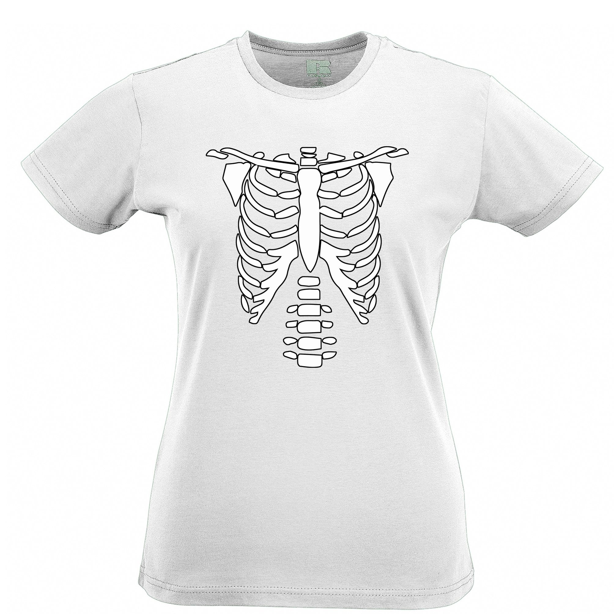 Halloween Womens T Shirt Skeleton Ribcage Chest