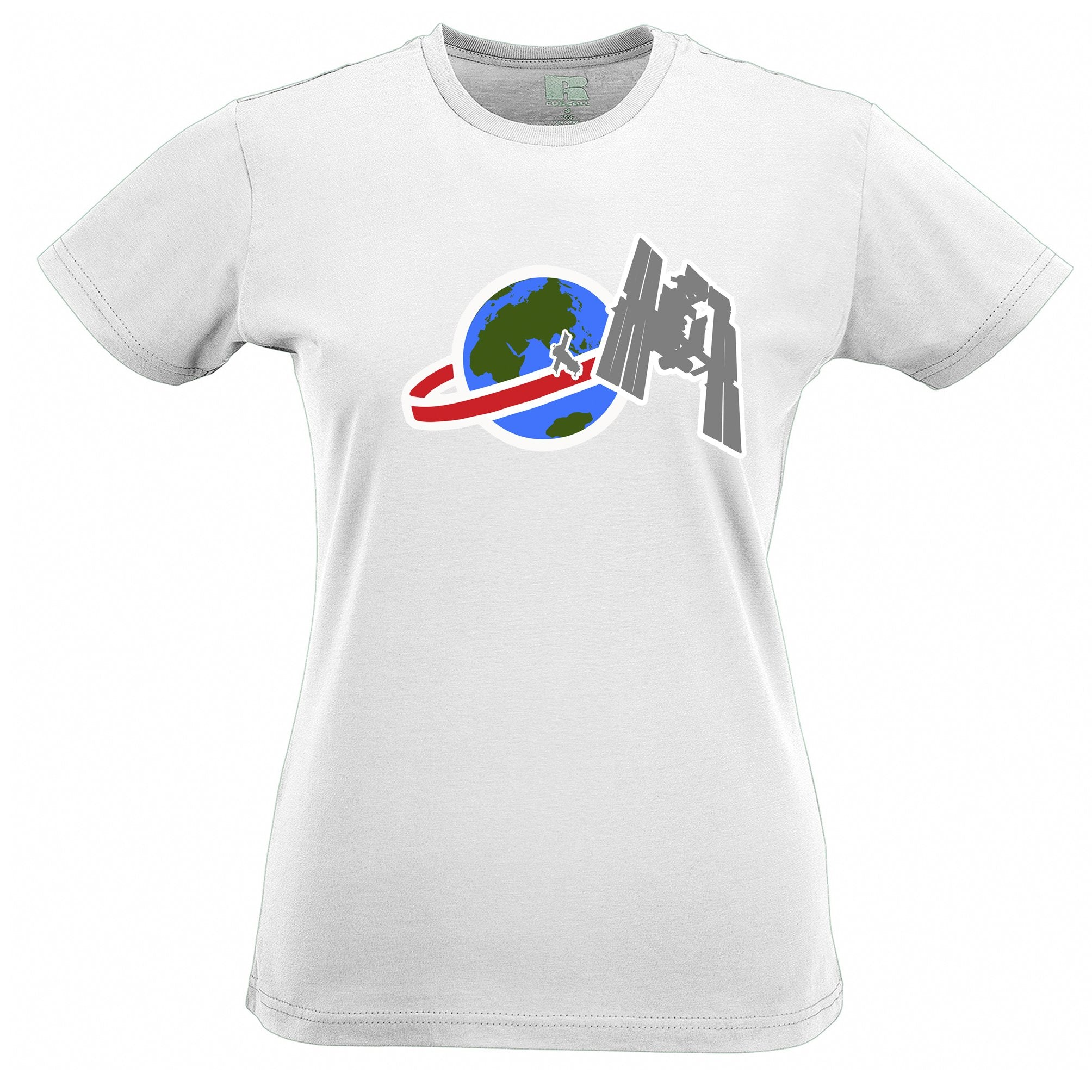 Retro Space Womens T Shirt Satellite Over Earth