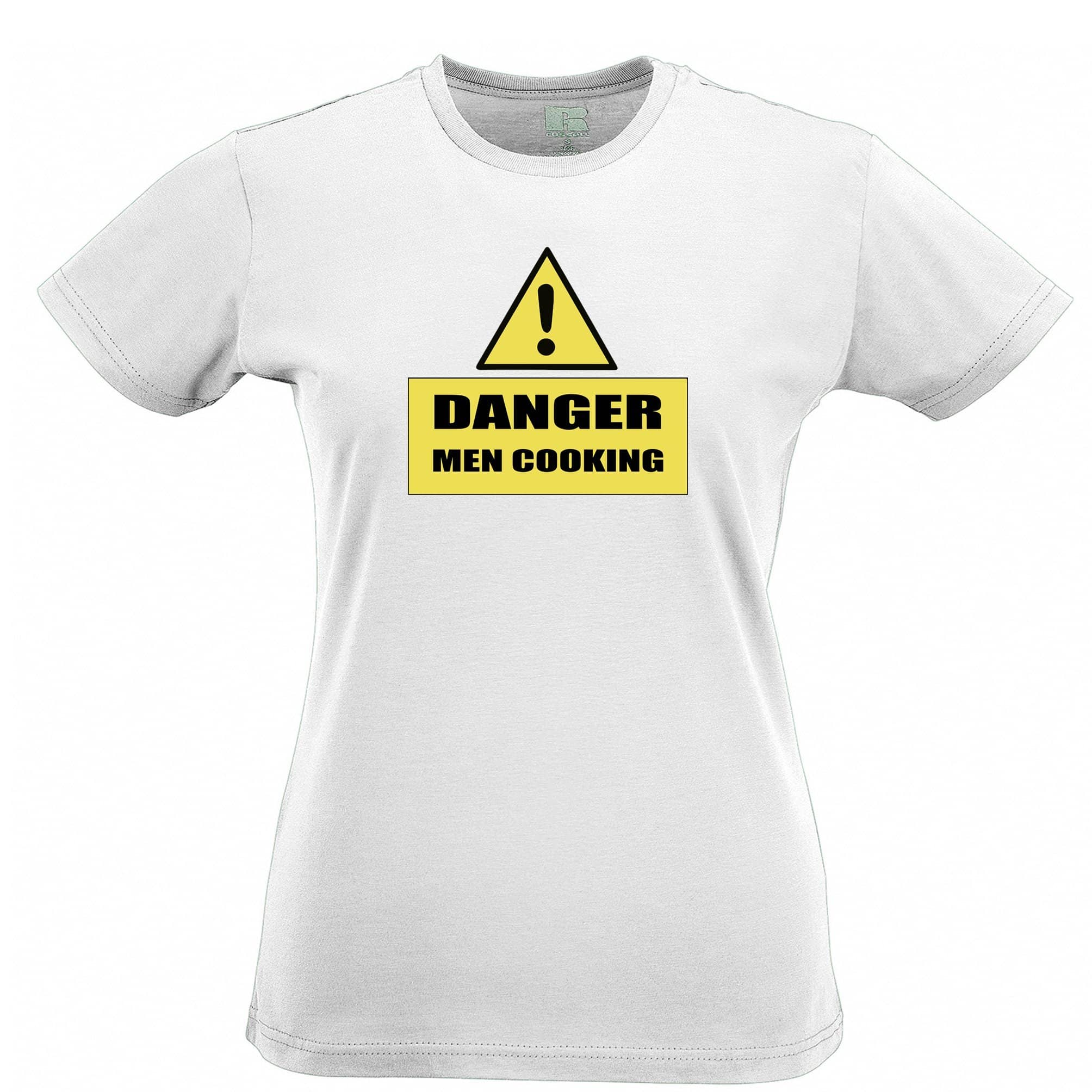 Novelty Barbecue Womens TShirt Danger! Men Cooking Sign