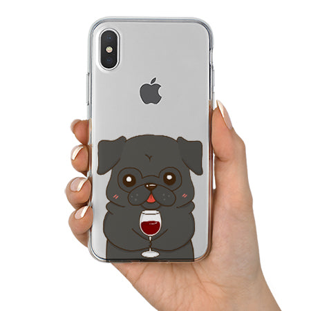 new style e72bd fbd52 Black Pug Drink Wine Clear iPhone Case for iPhone X, 8, 8 plus, 7, 6, 5, SE