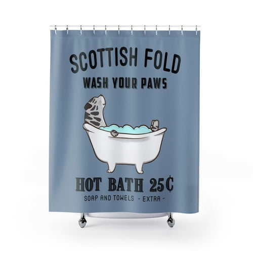 Scottish Fold Cat Shower Curtain Bathroom Decor Dog Animal Lovers THE PAWSTER