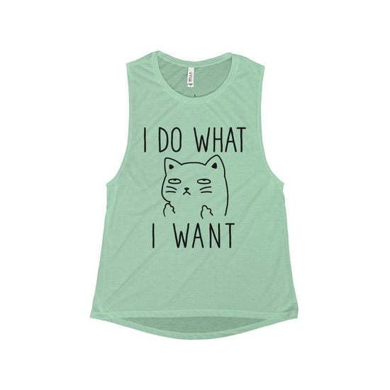 39ed59f6bd40 I do what I want Cat Flowy Muscle Tank top, Cat Women Workout Tank top