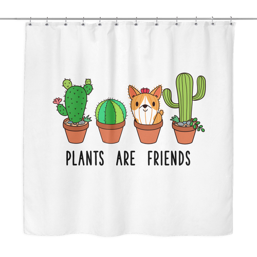 Plants Are Friends Corgi Cactus Dog Shower Curtain Bathroom Decor Animal Lovers THE