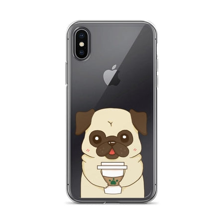 info for 033d2 9fe7c Pug Drink Coffee Clear iPhone Case for iPhone X, 8, 8 plus, 7, 6, 5, SE