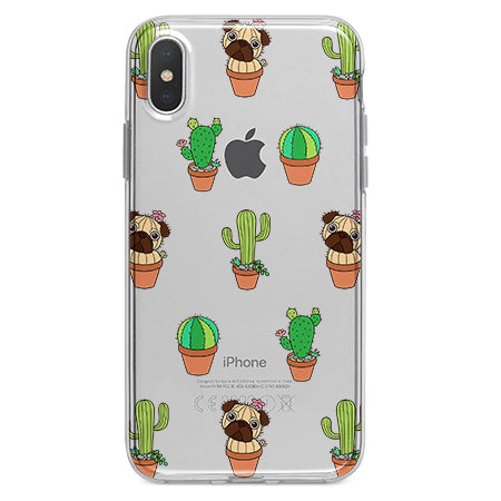 pretty nice 9fb06 dc92a Cactus Pug Dog Clear iPhone Case for iPhone X, 8, 8 plus, 7, 6, 5, SE