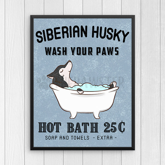 . Siberian Husky Wall Art Print  Dog Bathroom Wall Decor  Bathroom Signs   Canvas  Poster