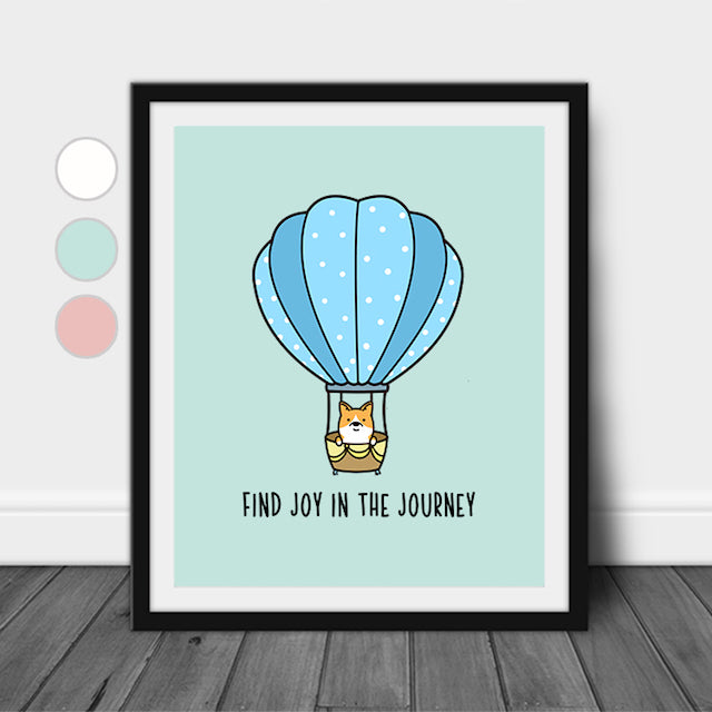Find Joy In The Journey Wall Decor Corgi Dog Quote Wall Art Print