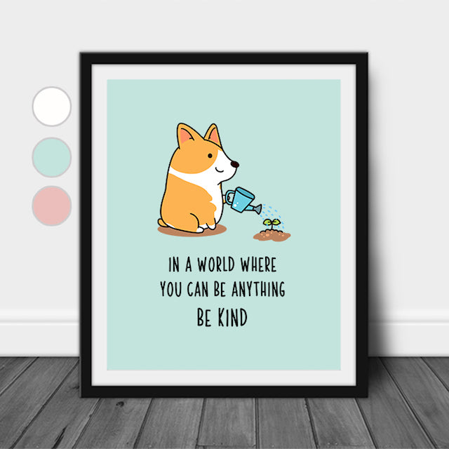 In A World Where You Can Be Anything Be Kind Wall Decor Nursery