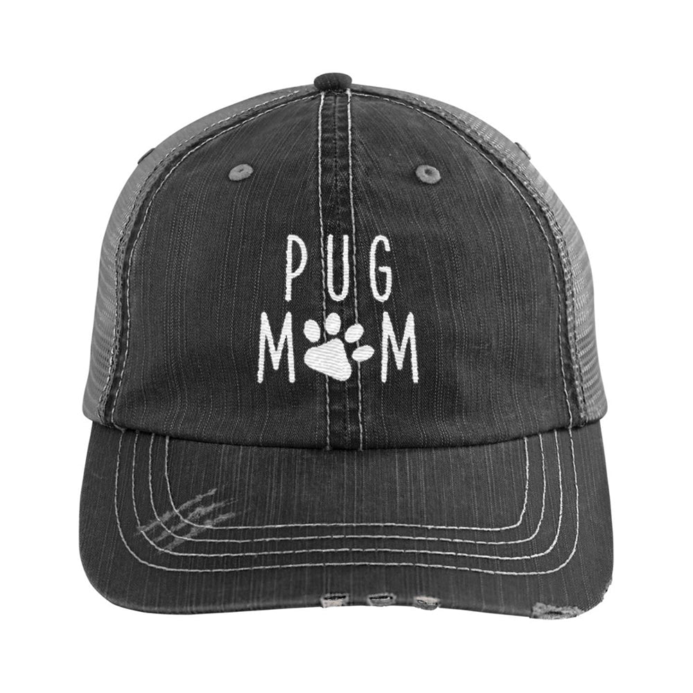 de93587bf Pug Mom Distressed Hat, Dog Mom Embroidered Baseball Hats, Dad Cap-dog  animal ...