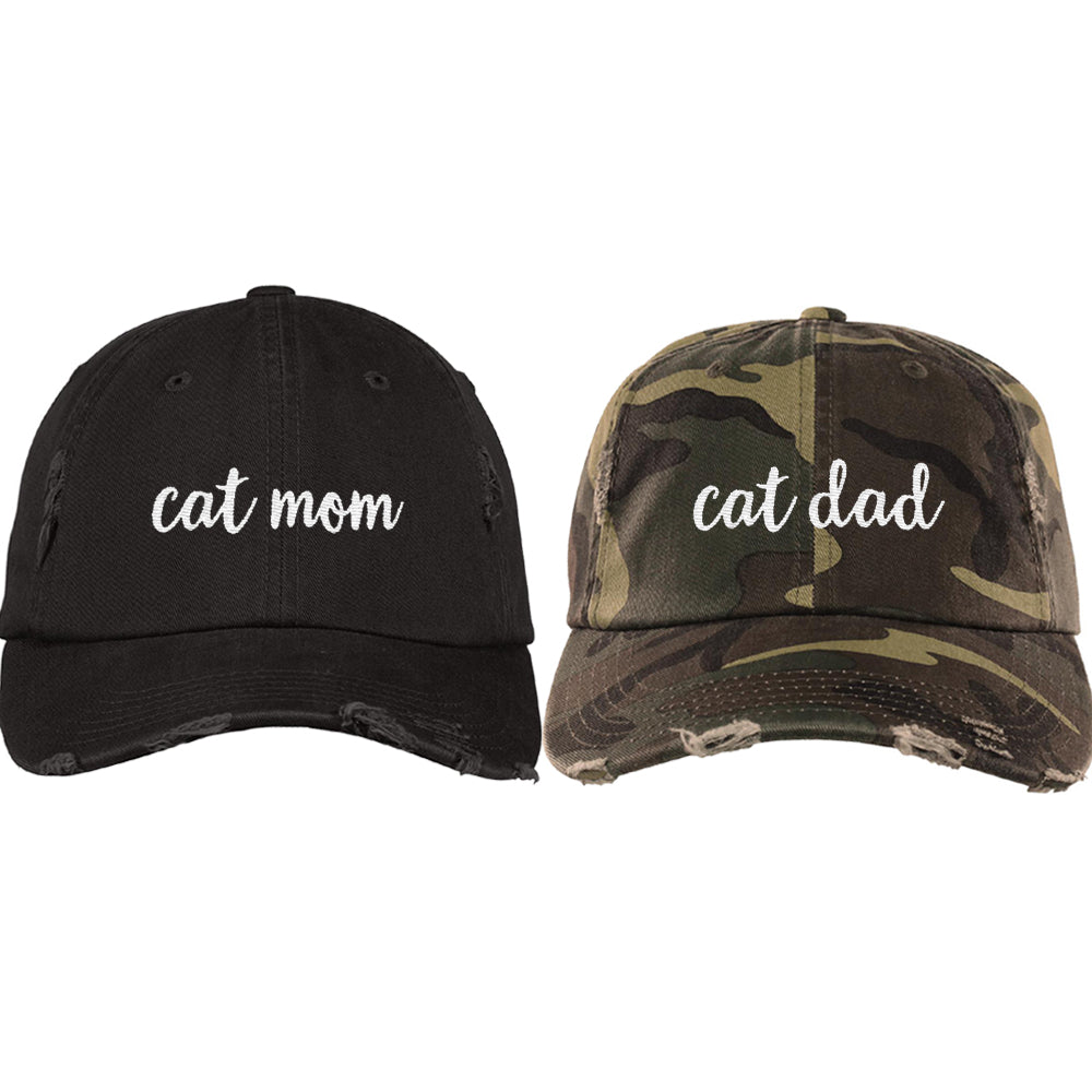 7e460902d47 Cat Mom Distressed Hat