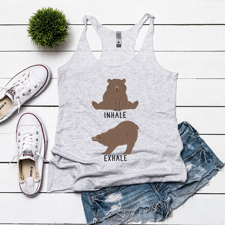 cf7e204a36 Inhale Exhale Grizzly bear Yoga Racerback Tank, Grizzly bear Tank Top-dog  animal lovers ...